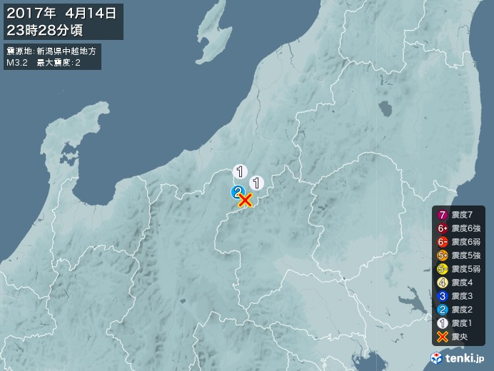 地震情報(2017年04月14日23時28分発生)
