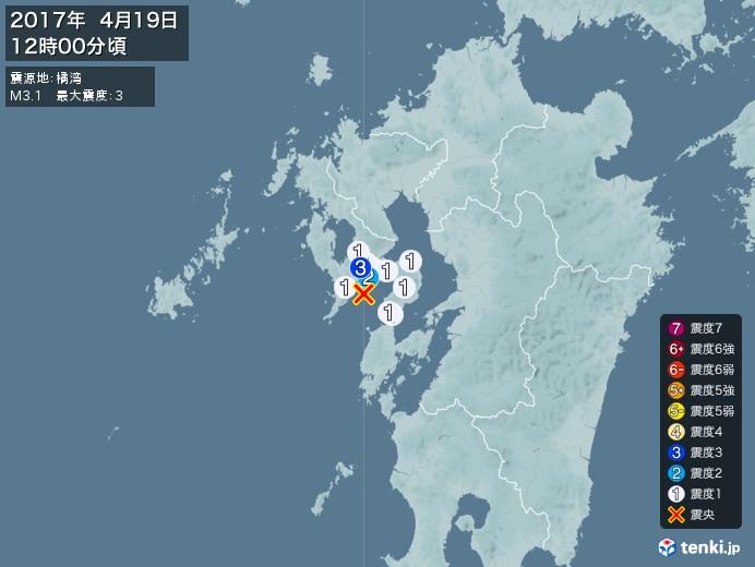 地震情報(2017年04月19日12時00分発生)