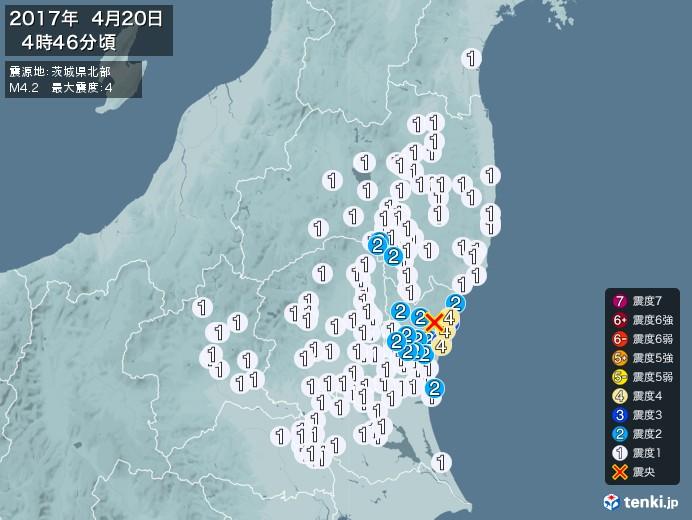 地震情報(2017年04月20日04時46分発生)