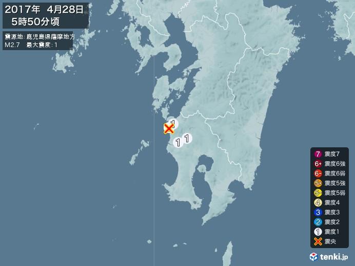 地震情報(2017年04月28日05時50分発生)