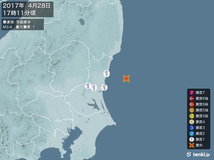 地震情報(2017年04月28日17時11分発生)