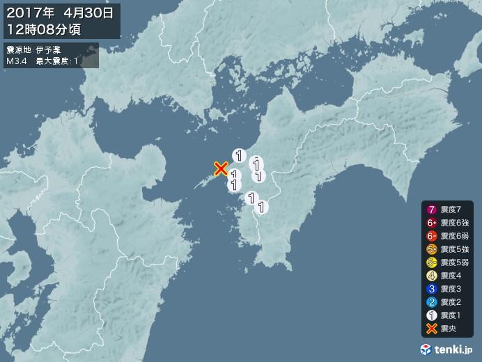 地震情報(2017年04月30日12時08分発生)