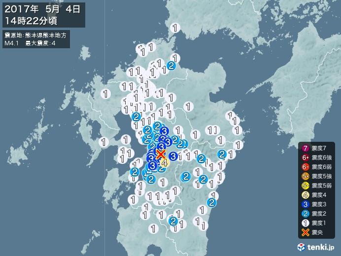 地震情報(2017年05月04日14時22分発生)