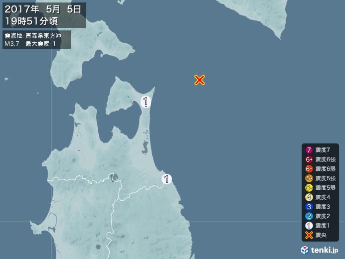 地震情報(2017年05月05日19時51分発生)