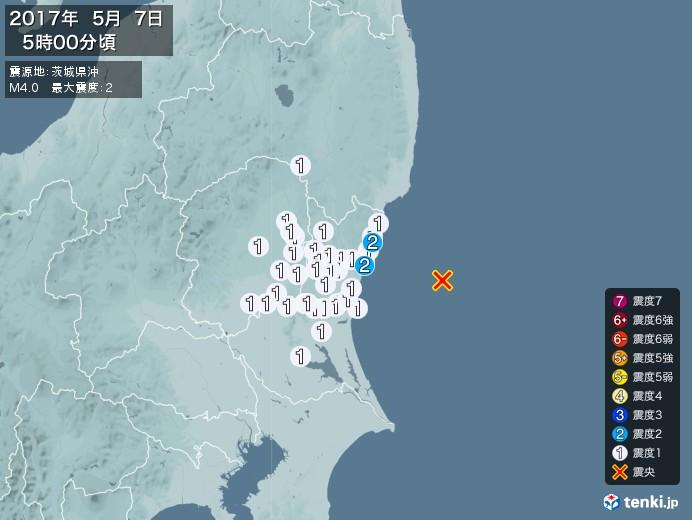 地震情報(2017年05月07日05時00分発生)