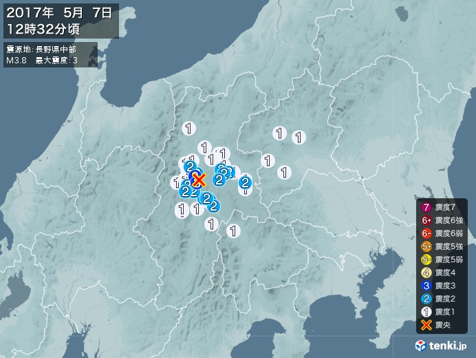 地震情報(2017年05月07日12時32分発生)