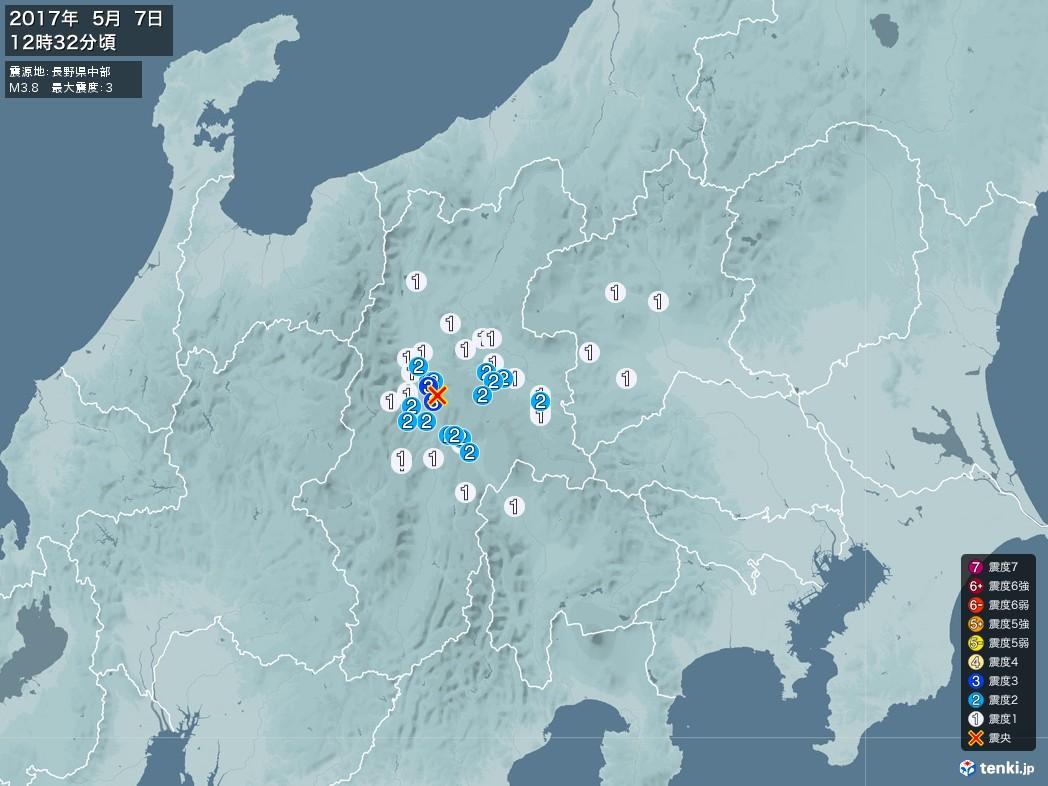 地震情報 2017年05月07日 12時32分頃発生 最大震度:3 震源地:長野県中部(拡大画像)