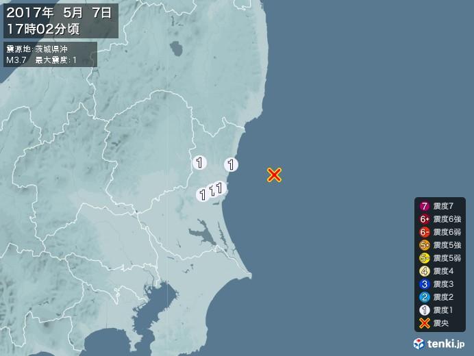 地震情報(2017年05月07日17時02分発生)
