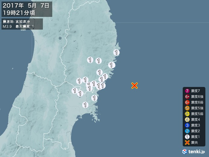 地震情報(2017年05月07日19時21分発生)