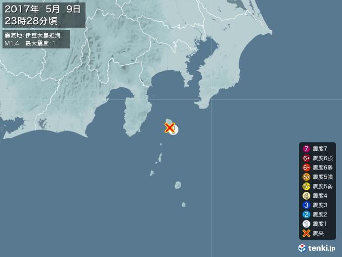 地震情報(2017年05月09日23時28分発生)