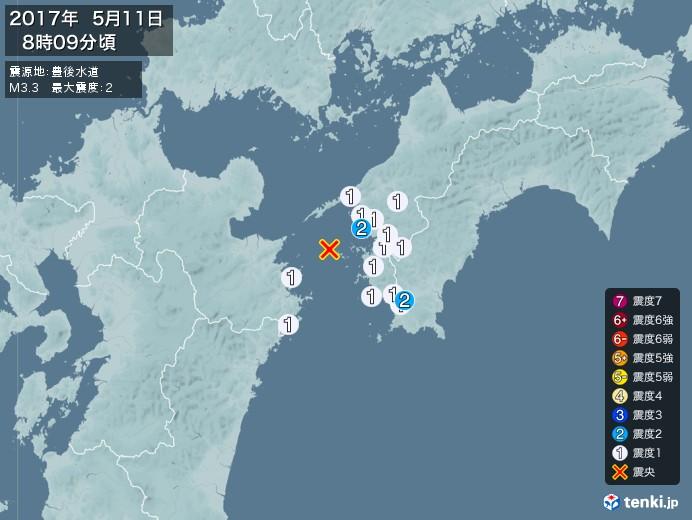 地震情報(2017年05月11日08時09分発生)