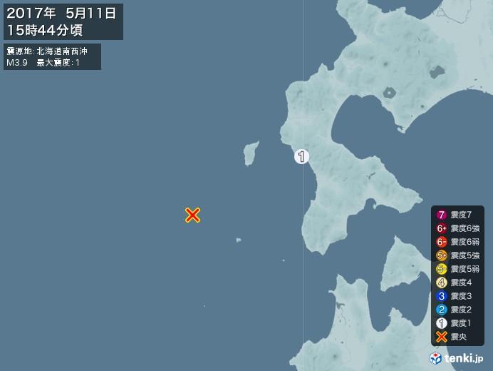 地震情報(2017年05月11日15時44分発生)