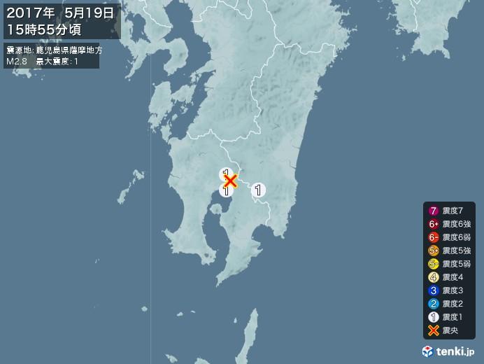 地震情報(2017年05月19日15時55分発生)