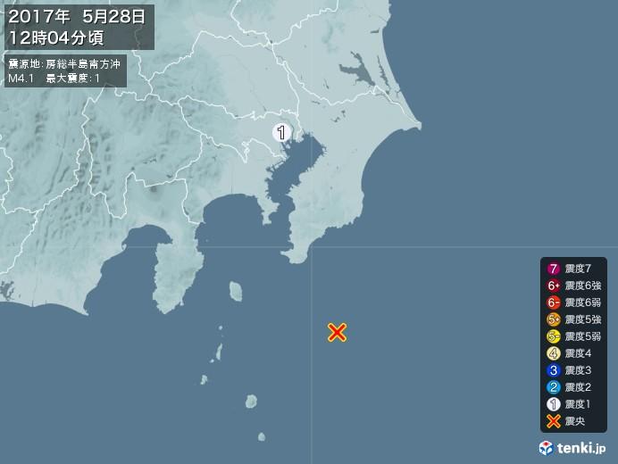 地震情報(2017年05月28日12時04分発生)