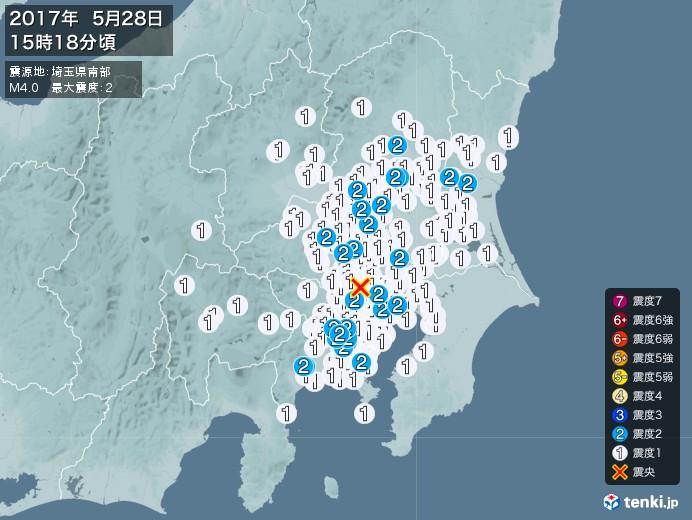 地震情報(2017年05月28日15時18分発生)