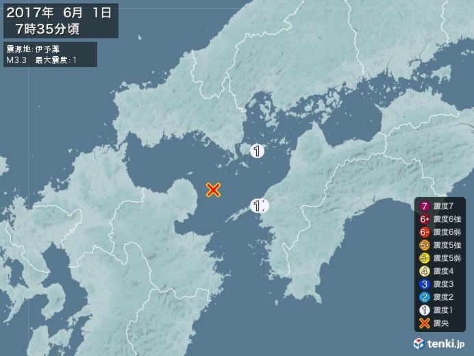 地震情報(2017年06月01日07時35分発生)