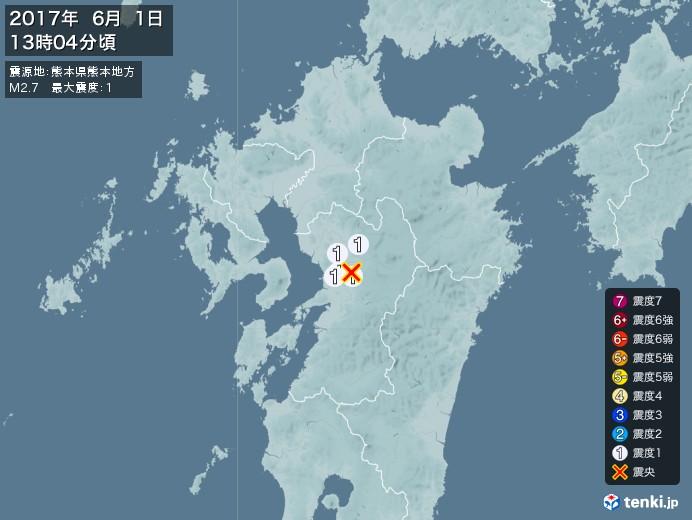 地震情報(2017年06月01日13時04分発生)