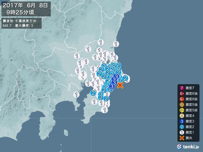 地震情報(2017年06月08日09時25分発生)
