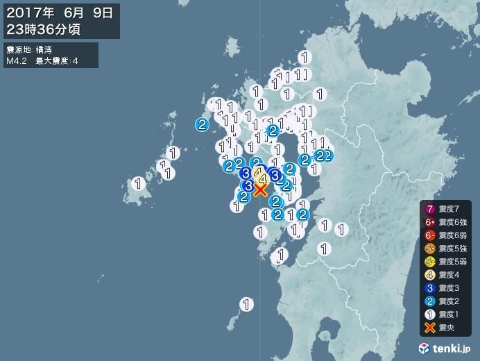 地震情報(2017年06月09日23時36分発生)
