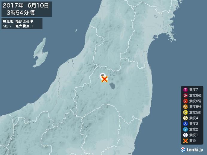 地震情報(2017年06月10日03時54分発生)
