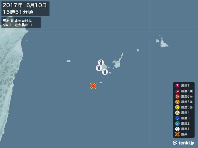 地震情報(2017年06月10日15時51分発生)