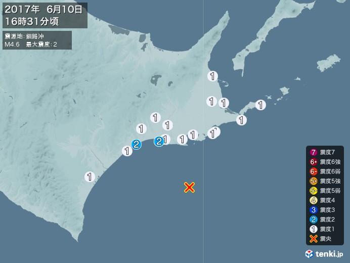 地震情報(2017年06月10日16時31分発生)