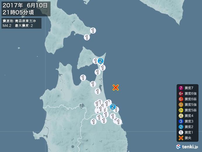 地震情報(2017年06月10日21時05分発生)
