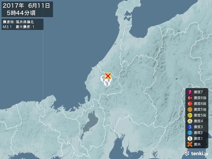 地震情報(2017年06月11日05時44分発生)