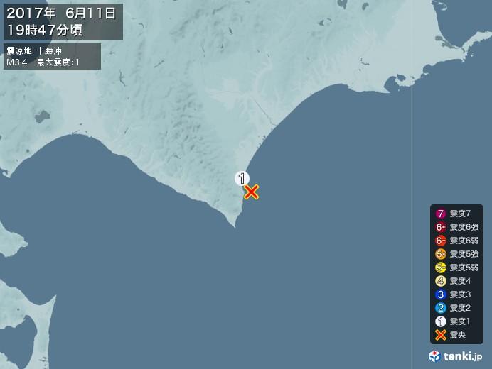地震情報(2017年06月11日19時47分発生)