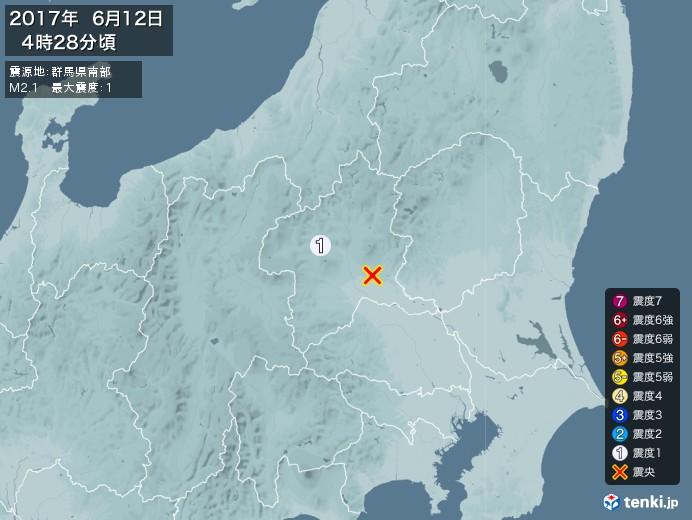 地震情報(2017年06月12日04時28分発生)