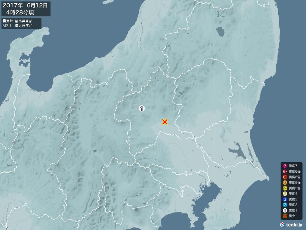 地震情報 2017年06月12日 04時28分頃発生 最大震度:1 震源地:群馬県南部(拡大画像)
