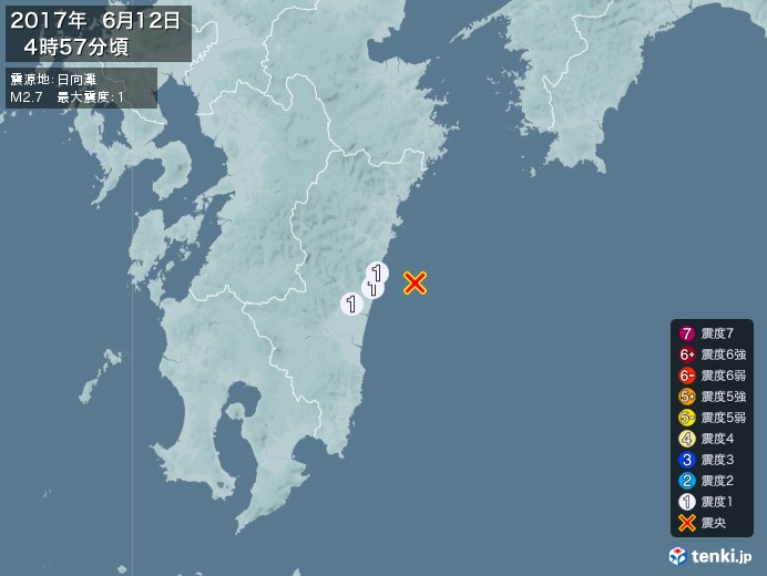 地震情報(2017年06月12日04時57分発生)