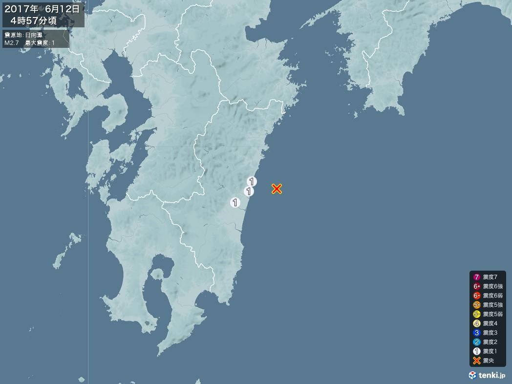 地震情報 2017年06月12日 04時57分頃発生 最大震度:1 震源地:日向灘(拡大画像)