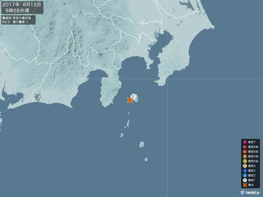 地震情報 2017年06月12日 05時28分頃発生 最大震度:1 震源地:伊豆大島近海(拡大画像)