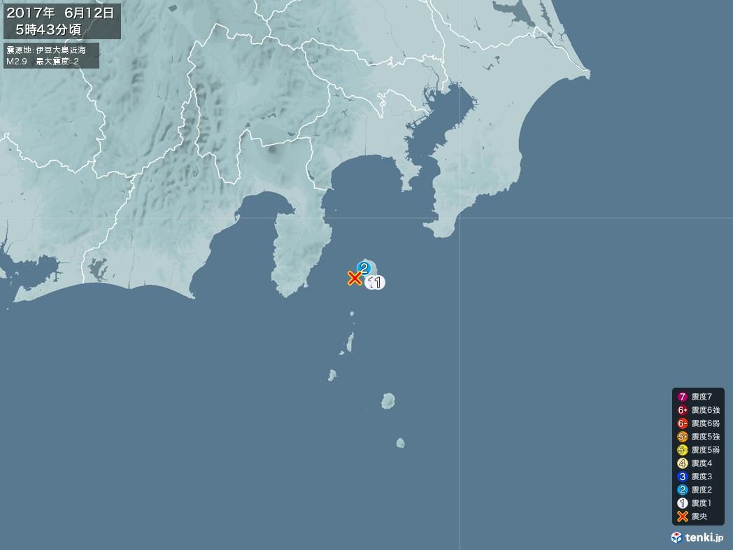 地震情報 2017年06月12日 05時43分頃発生 最大震度:2 震源地:伊豆大島近海(拡大画像)