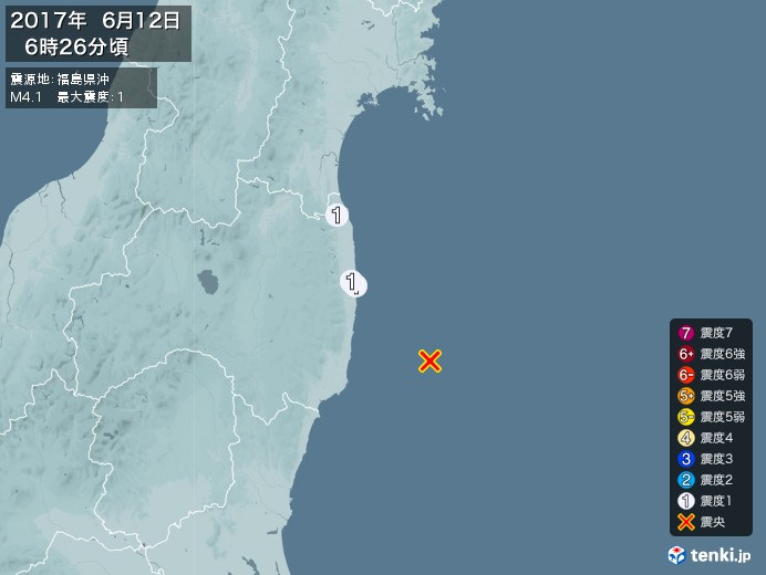 地震情報(2017年06月12日06時26分発生)
