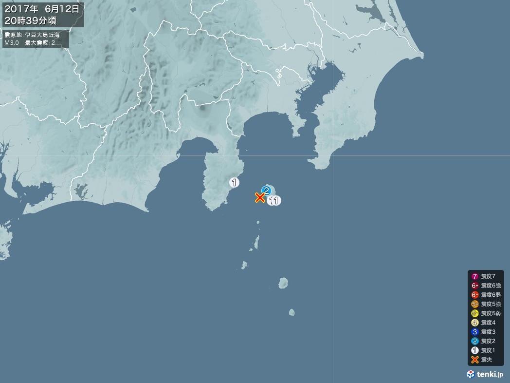 地震情報 2017年06月12日 20時39分頃発生 最大震度:2 震源地:伊豆大島近海(拡大画像)