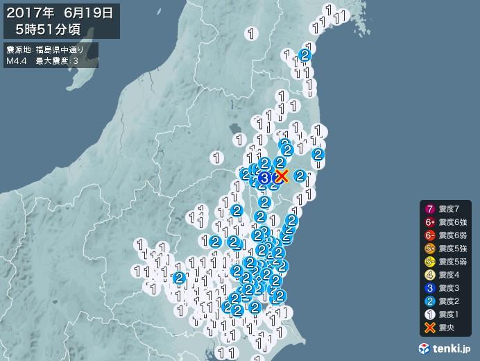 地震情報(2017年06月19日05時51分発生)