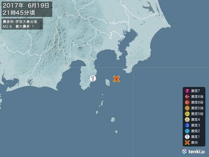 地震情報(2017年06月19日21時45分発生)