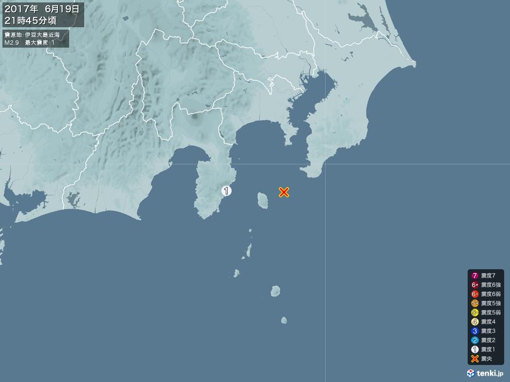 地震情報 2017年06月19日 21時45分頃発生 最大震度:1 震源地:伊豆大島近海(拡大画像)