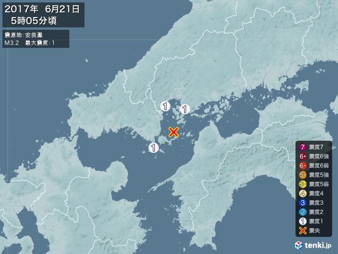 地震情報(2017年06月21日05時05分発生)