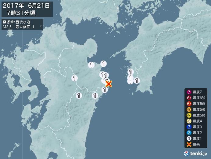地震情報(2017年06月21日07時31分発生)