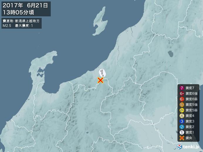 地震情報(2017年06月21日13時05分発生)