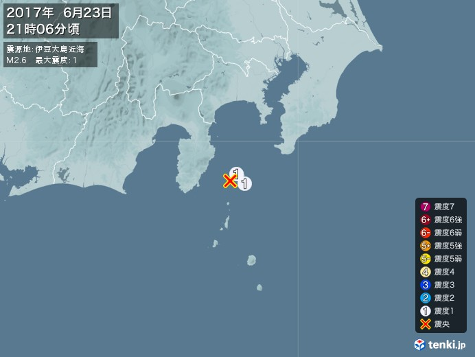 地震情報(2017年06月23日21時06分発生)