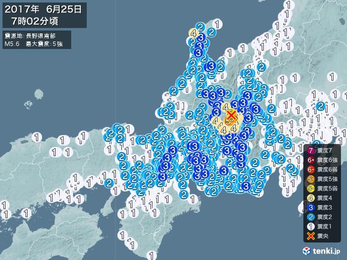 地震情報(2017年06月25日07時02分発生)