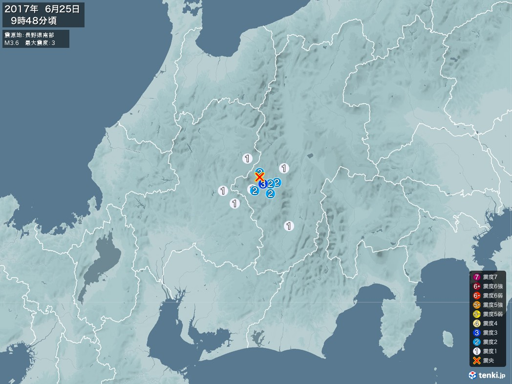 地震情報 2017年06月25日 09時48分頃発生 最大震度:3 震源地:長野県南部(拡大画像)