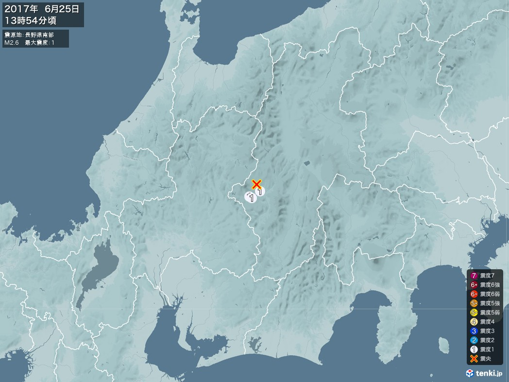 地震情報 2017年06月25日 13時54分頃発生 最大震度:1 震源地:長野県南部(拡大画像)