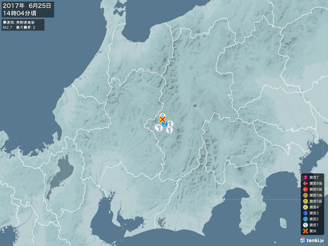 地震情報 2017年06月25日 14時04分頃発生 最大震度:2 震源地:長野県南部(拡大画像)
