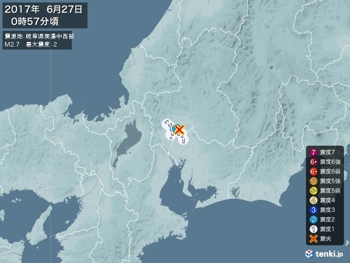 地震情報(2017年06月27日00時57分発生)