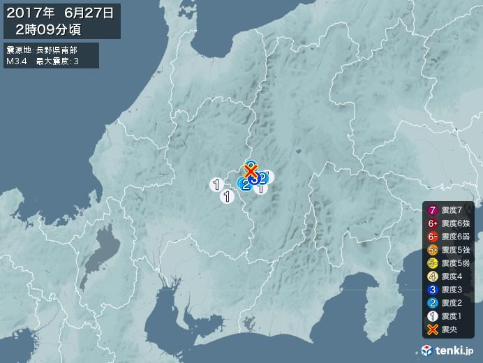 地震情報(2017年06月27日02時09分発生)